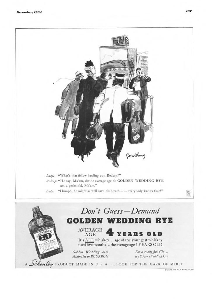 Golden Wedding Whiskies Print Ad from Esquire Magazine, 1934, 12-December, p.137