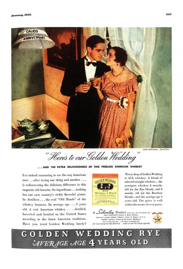 Golden Wedding Whiskies Print Ad from Esquire Magazine, 1935, 01-January, p.155