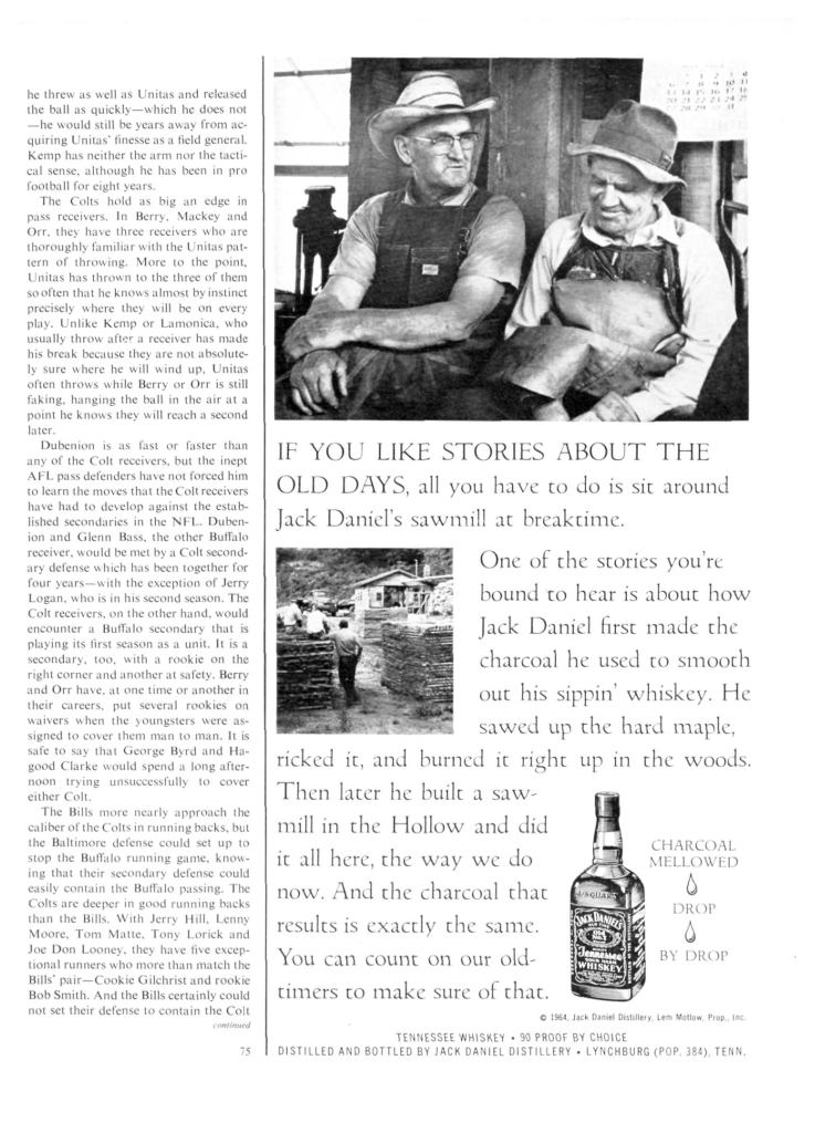 Jack Daniels Whiskey Print Ad from Sports Illustrated, 1964-11-16, p.079
