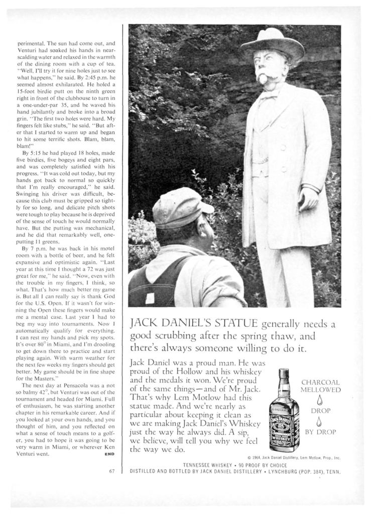 Jack Daniels Whiskey Print Ad from Sports Illustrated, 1965-03-15, p.071
