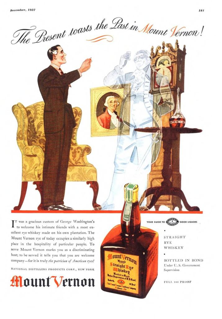 Mount Vernon, Straight Rye Whiskey Print Ad from Esquire Magazine, 1937, 12-December, p.181