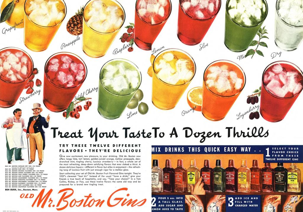 Old Mr. Boston Print Ad from Esquire Magazine, 1937, 07-July, p.016_17