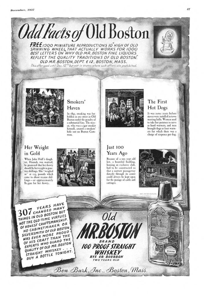 Old Mr. Boston Print Ad from Esquire Magazine, 1937, 12-December, p.047
