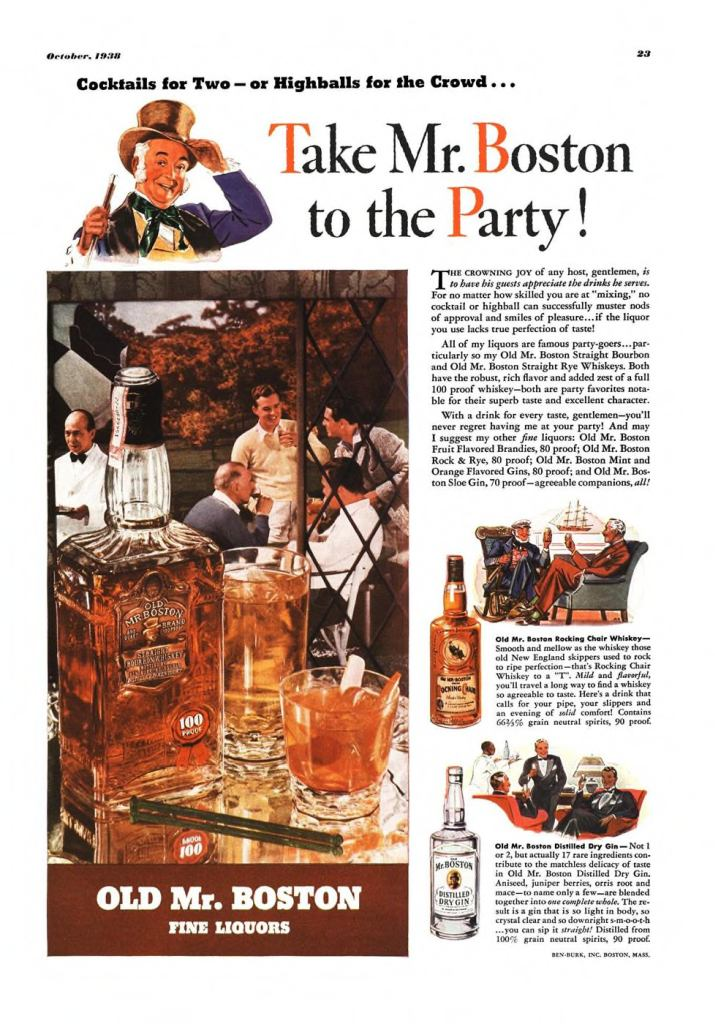 Old Mr. Boston Print Ad from Esquire Magazine, 1938, 10-October, p.023