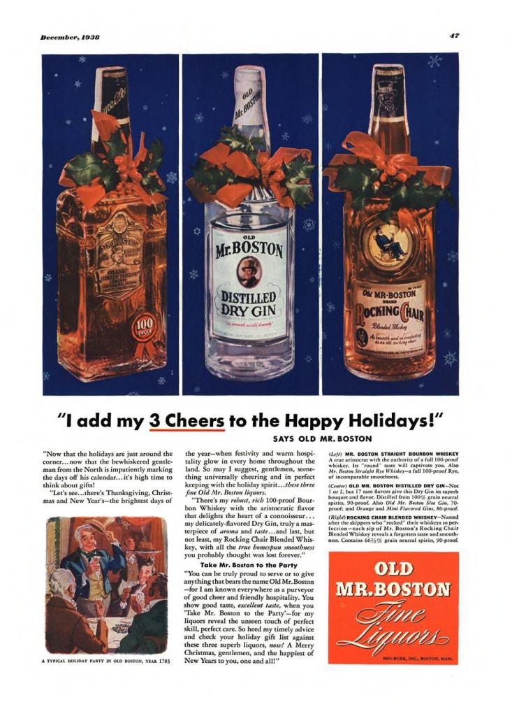 Old Mr. Boston Print Ad from Esquire Magazine, 1938, 12-December, p.047