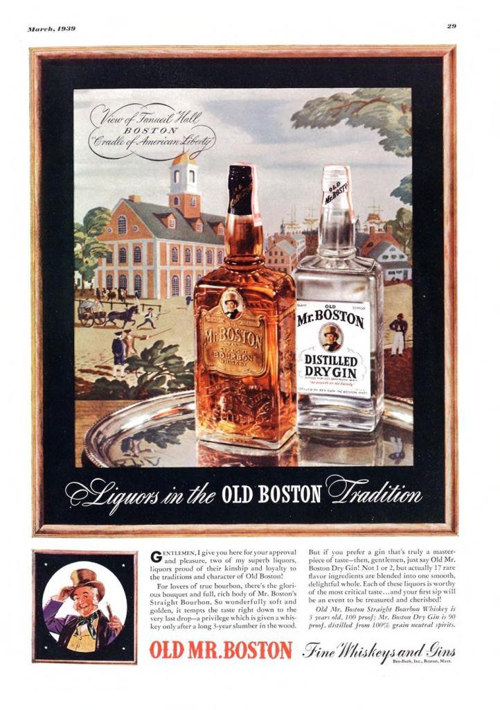 Old Mr. Boston Print Ad from Esquire Magazine, 1939, 03-March, p.029