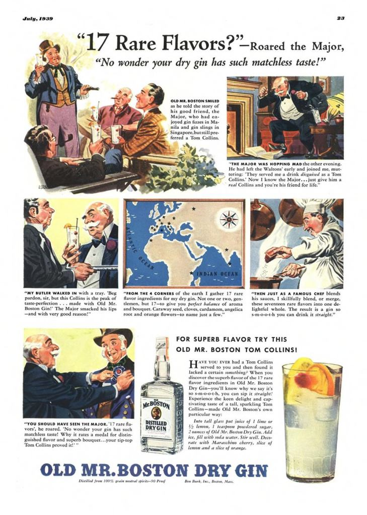 Old Mr. Boston Print Ad from Esquire Magazine, 1939, 07-July, p.023