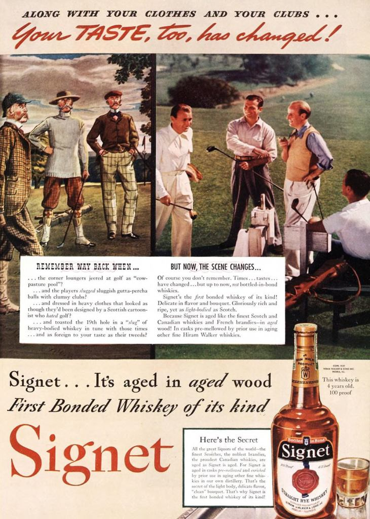 Signet, Straight Rye Whiskey Print Ad from Esquire Magazine, 1939, 06-June, p.035