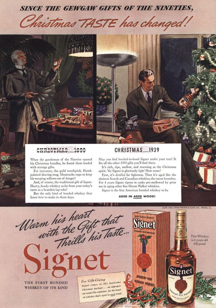 Signet, Straight Rye Whiskey Print Ad from Esquire Magazine, 1940, 01-January, p.026