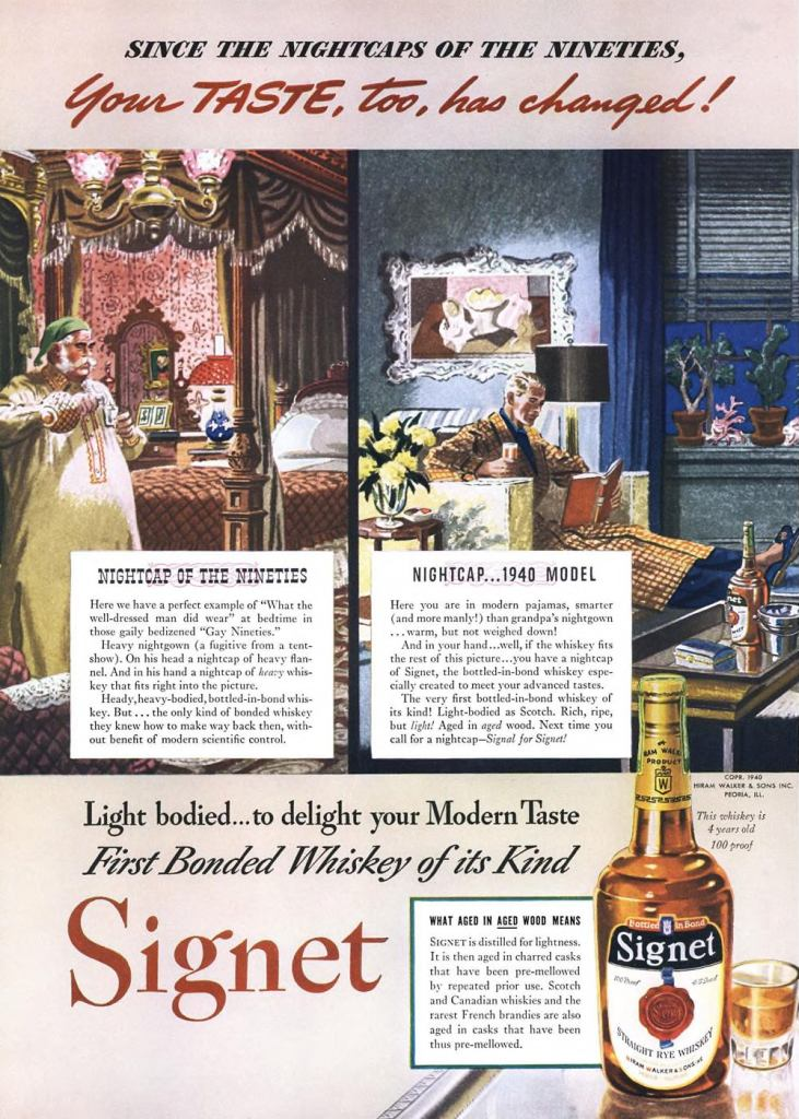 Signet, Straight Rye Whiskey Print Ad from Esquire Magazine, 1940, 02-February, p.026