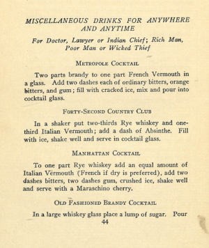 MISCELLANEOUS DRINKS FOR ANYWHERE AND ANYTIME in 1920s