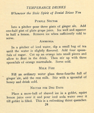 TEMPERANCE DRINKS Cocktails Recipes of 1920s