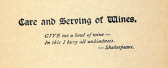 Care and Serving of Wines